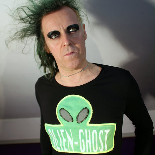 """Andromedans"" Art Merch Longsleeve Shirt Siebdruck Alien-Ghost, Neon gelb Faden, silber leuchtenden Augen  Größe M"