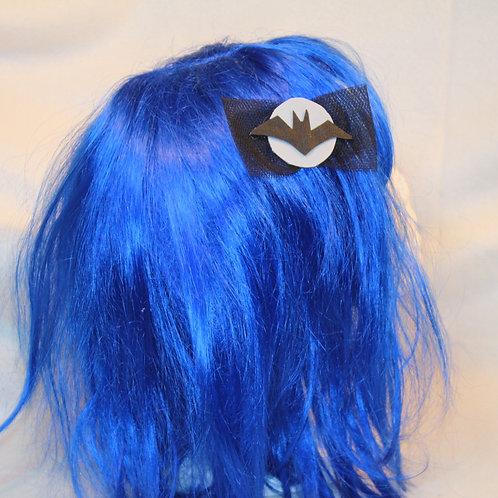 """Haarspangen """"Bats Shadow at Silver Moonlight"""", Fledermausschatten im silbernem Mondlicht mit schwarzer Tüllschleife, schwarz"""