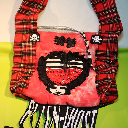 alien-ghost, Alien-Ghost, Merchandise, Art Merch, for her, freaky, freak tasche, hängetasche, rot/schwarz/weiss, scary,