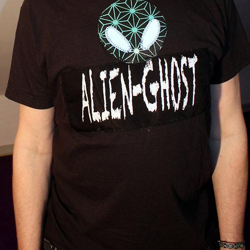 """""""Aliens Aura"""" Art Merch T-Shirt , neuwertiger Shirt mit Siebdruck 'Alien-Ghost', Alienkopf Siebdruck 'Blume des Lebens' und r"""
