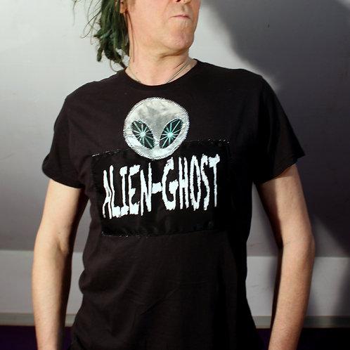 """""""Silver Planet"""" Merch Art T-Shirt Siebdruck Alien-Ghost mit Silberner Alienkopf und 'hipnotisierende' Augen ebenfalls aus Si"""