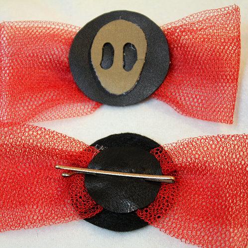 """Haarspangen """"Gold Alien Shadow at Mooneclips""""  mit roter Tüllschleife, goldene Haarklammer,  Paarpreis  11 cm Länge, 5 cm Br"""
