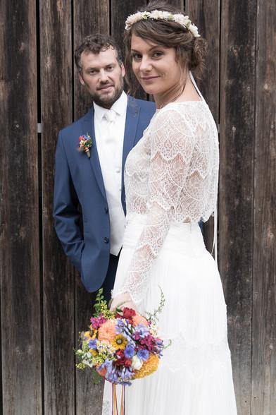 Vintage Boho Stil Brautpaar