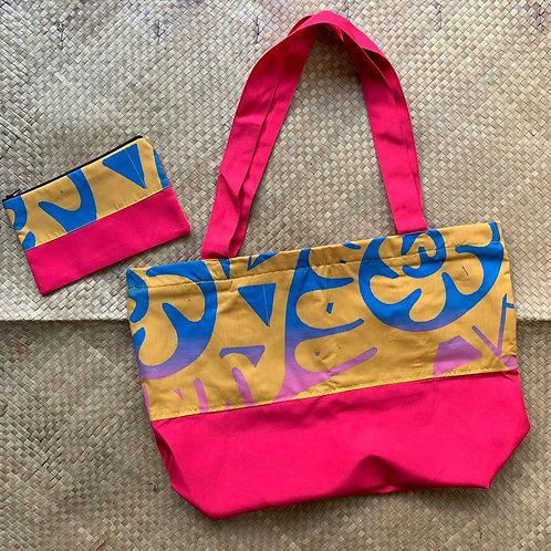 Pink Tropical Design Tote Bag