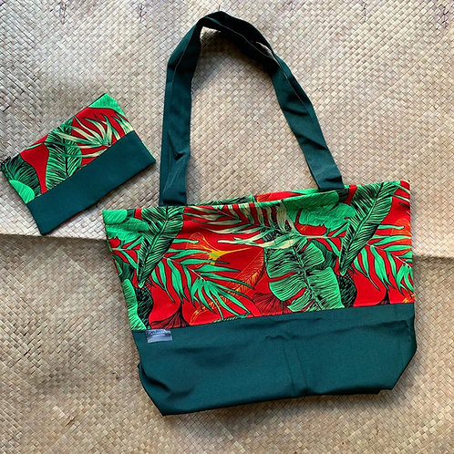 Red & Green Tropical Design Tote Bag