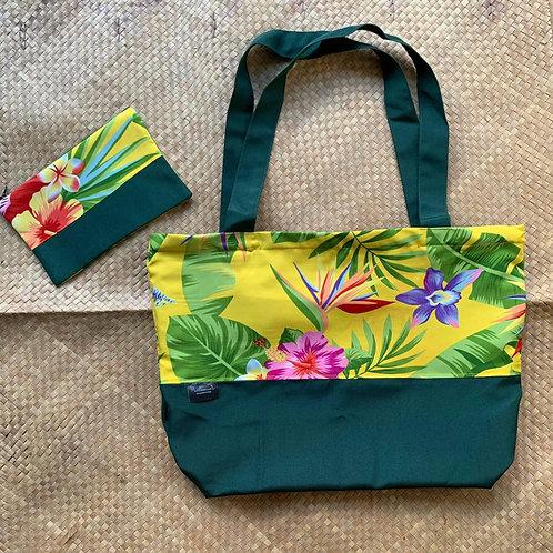 Green Yellow Tropical Tote Bag