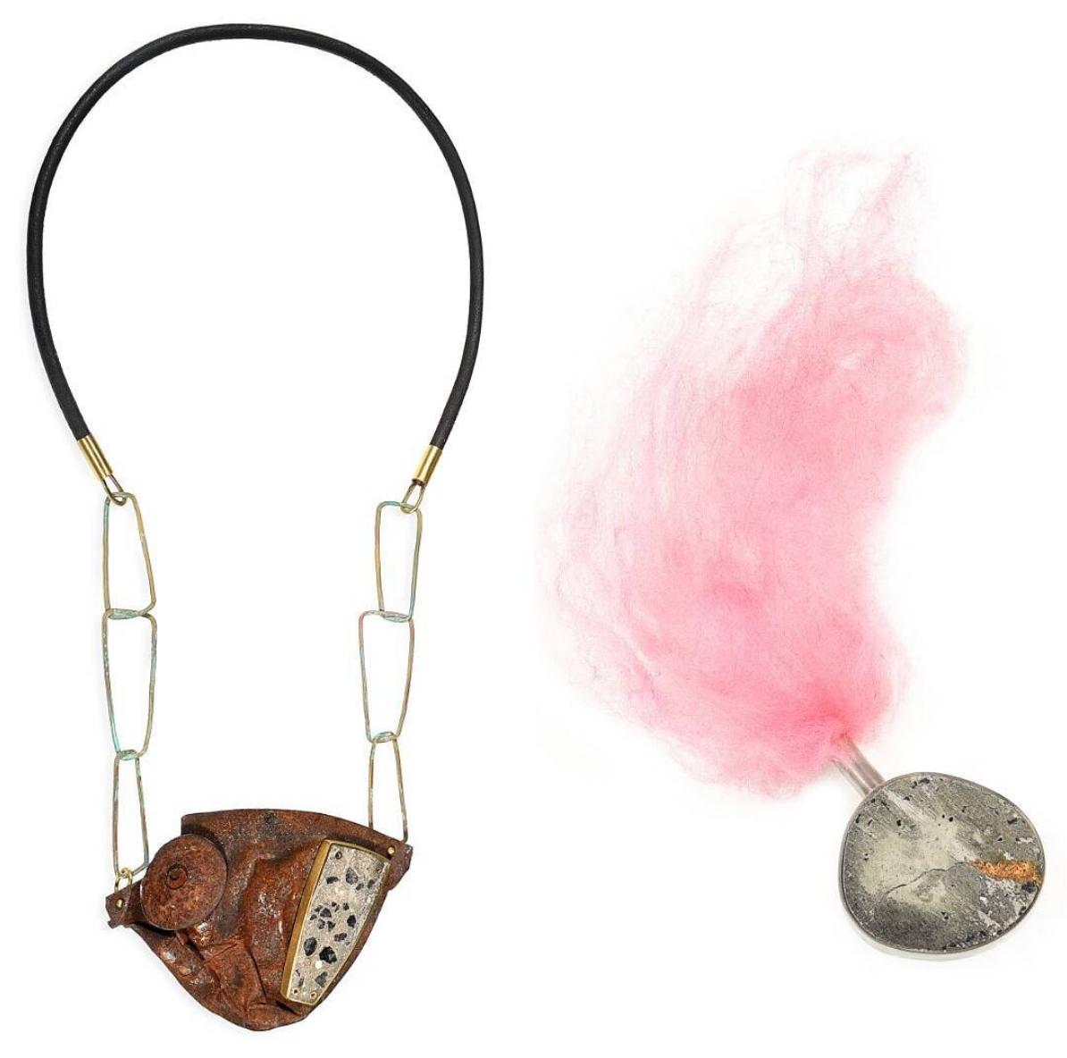 Shrapnel necklace + Versus brooch