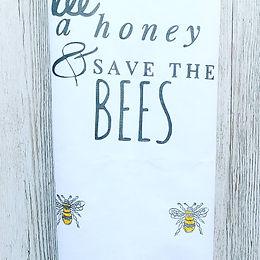 Bumble bee print tea towel