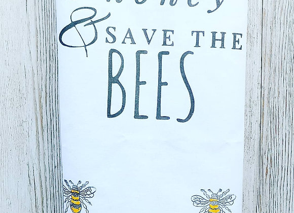Bumble bee print tea towel