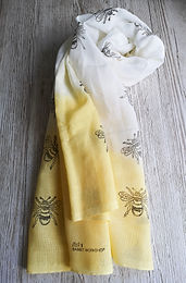 Bumble bee scarf on yellow ombre cotton