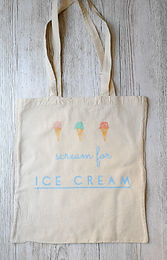 'Scream for ice cream' tote shopping bag