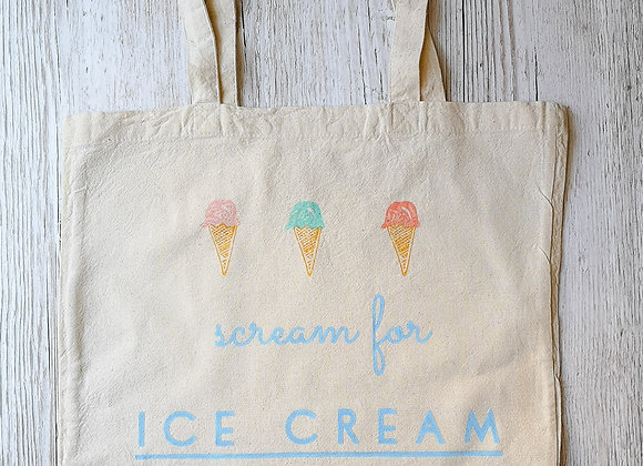 'Scream for ice cream' tote shopping bag