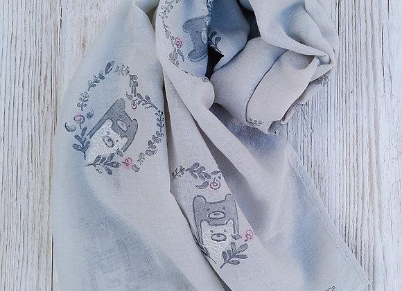 'Teddy Bear Love' soft grey scarf