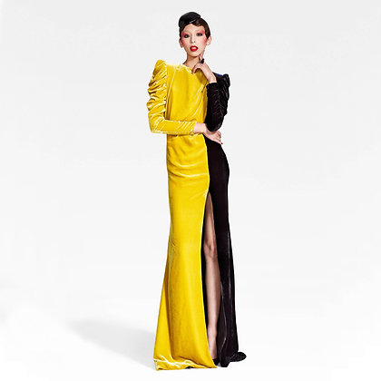 BI-COLOUR VELVET GOWN