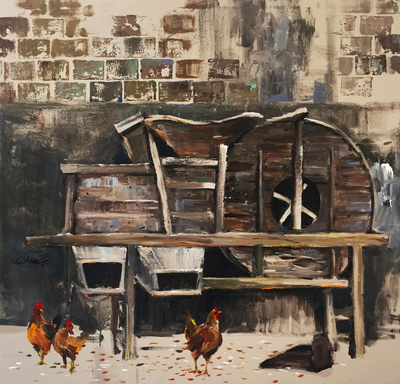 Chickens by the Rice Mill
