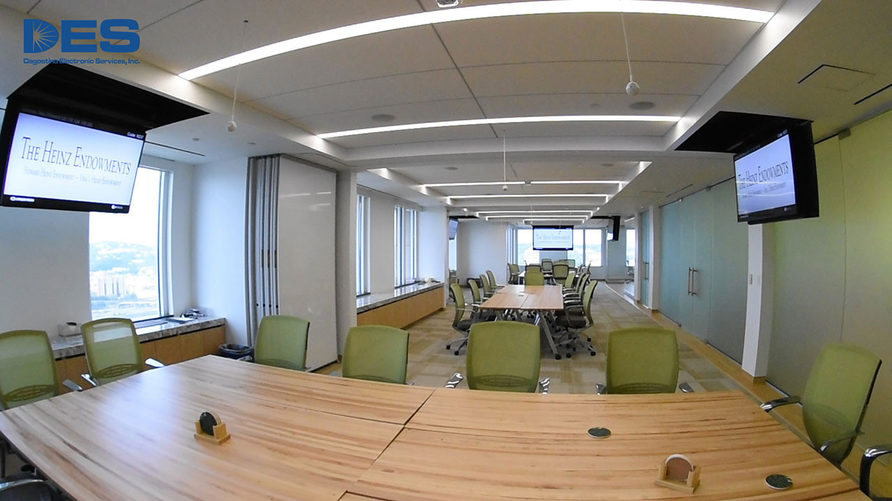 Divisible conference rooms with pivot-swivel ceiling mounts: Heinz Endowments