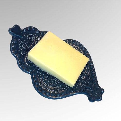 """Porte savon céramique """"coeur de Viana bleu"""""""