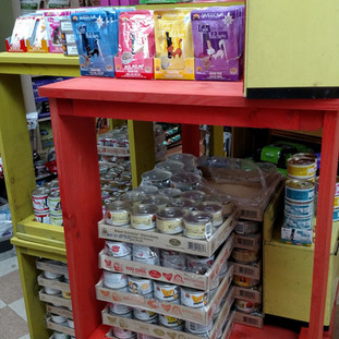 Weruva cat food and treat display