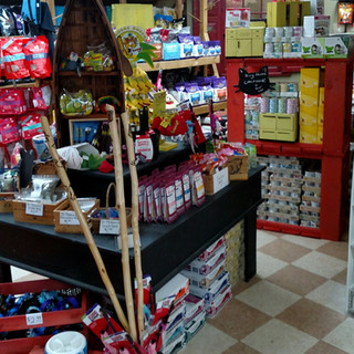 Display stand featuring natural and organic cat treats