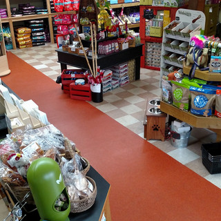 Front counter area at Gimme Chews & Moore sits loaded with pet supplies