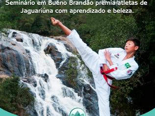 Seminário em Bueno Brandão premia atletas de Taekwondo de Jaguariúna com aprendizado e beleza.