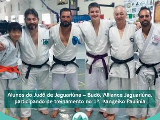 Alunos do Judô de Jaguariúna – Budô, Alliance Jaguariúna, participando de treinamento no 1º. Kangeik