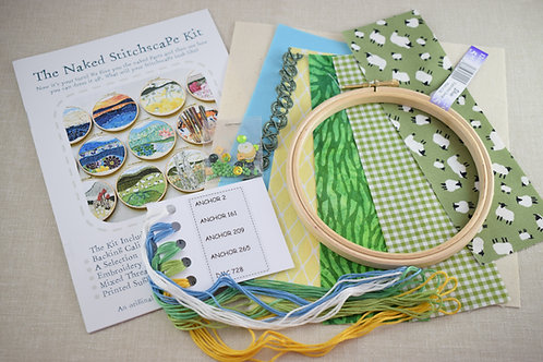The Naked Stitchscape Embroidery Kit: Ram Cove Combo