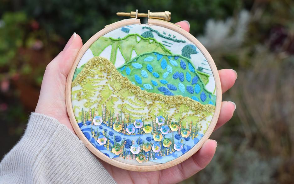 Blue Green Mini Stitchscape