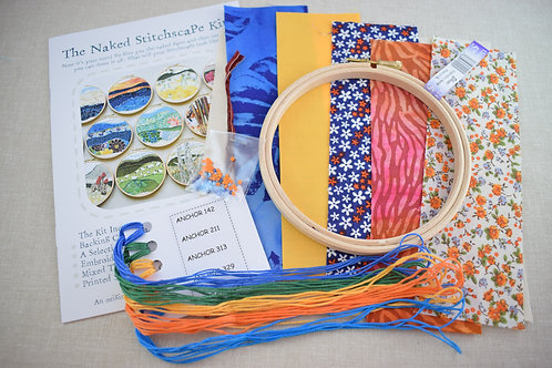 The Naked Stitchscape Embroidery Kit: Flame Bay Combo