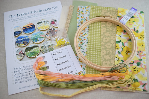 The Naked Stitchscape Embroidery Kit: Marigold Combo