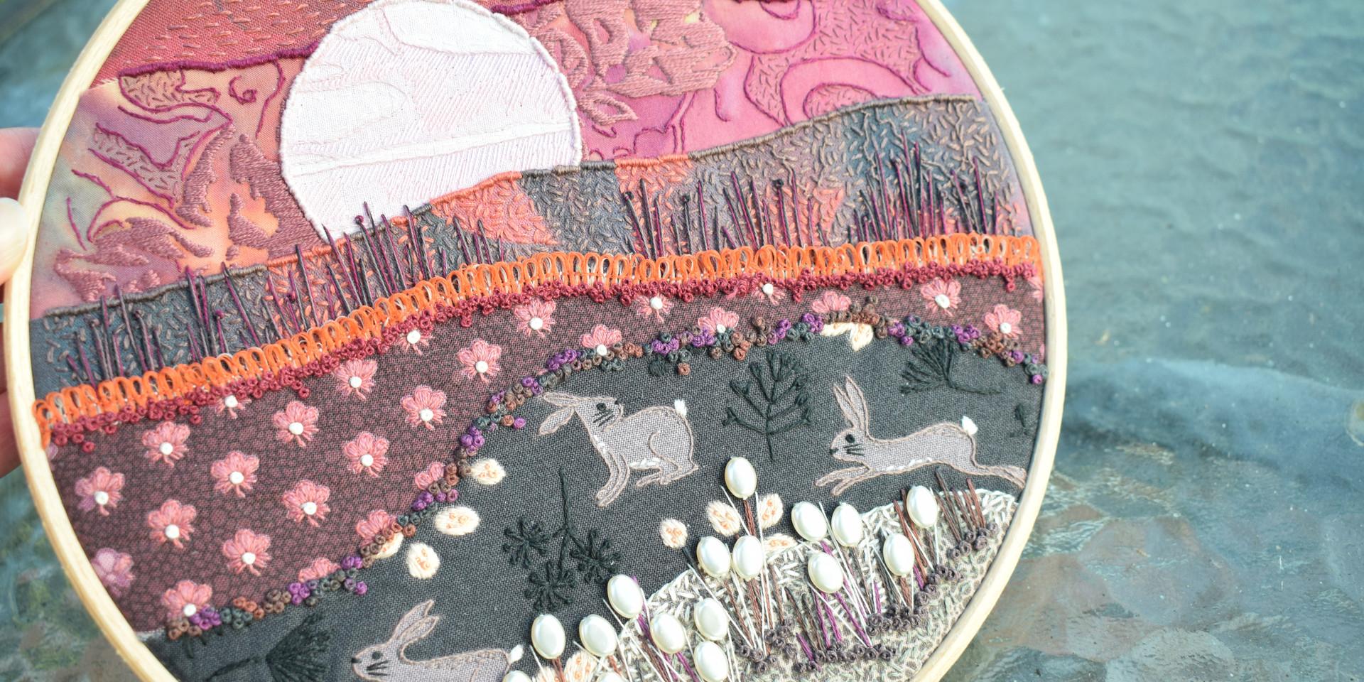 Pink Moon Stitchscape