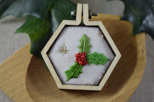 Hand Embroidered Mini Hoop Hexagon Magnet