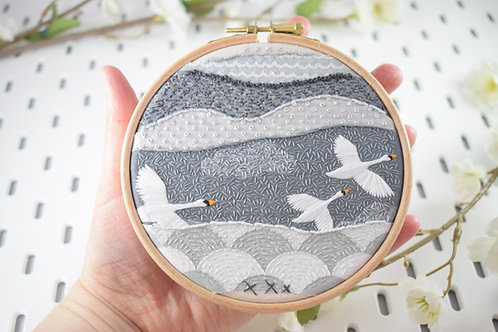 Fly By Swans Original Stitchscape
