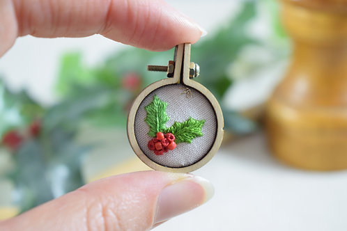 Hand Embroidered Mini Hoop Circle Magnet