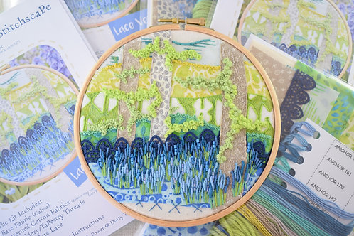 Bluebell Garden (Lace) Embroidery Stitchscape Kit