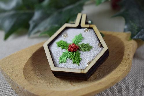 Hand Embroidered Mini Hoop Hexagon Magnet
