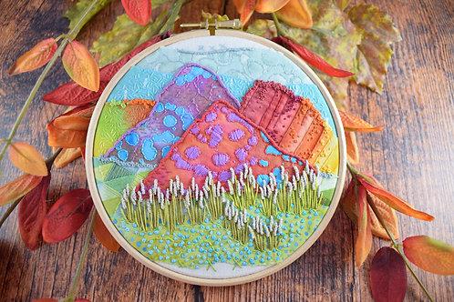 Over The Rainbow Hills Original Stitchscape