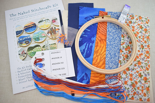 The Naked Stitchscape Embroidery Kit: Sun Down Combo