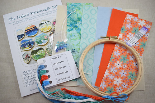 The Naked Stitchscape Embroidery Kit: Surf 'n Turf Combo
