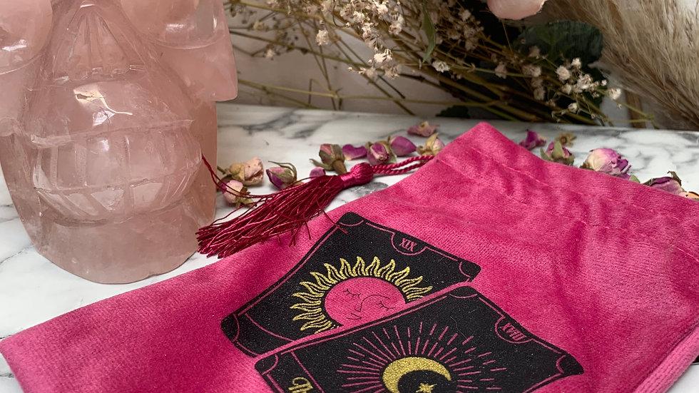 Tarot Deck Holder Pink Drawstring Bag