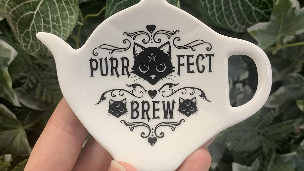 Tea Bag and Spoon Rest Purrfect Brew