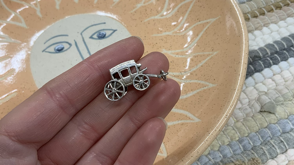 VINTAGE Sterling Silver Carriage Pendant