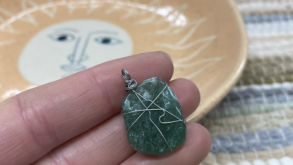 Wire Wrapped Aventurine Pendant