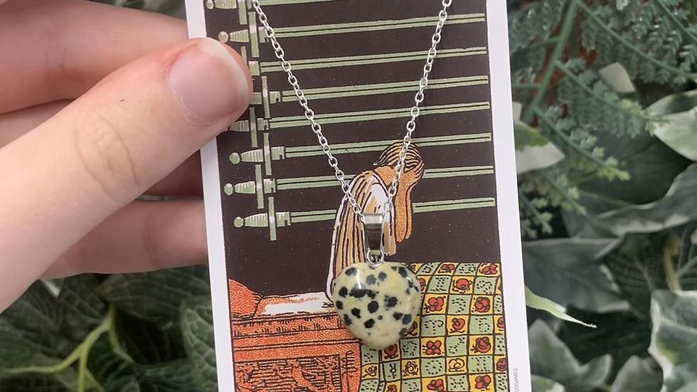Dalmatian Jasper Heart Necklace