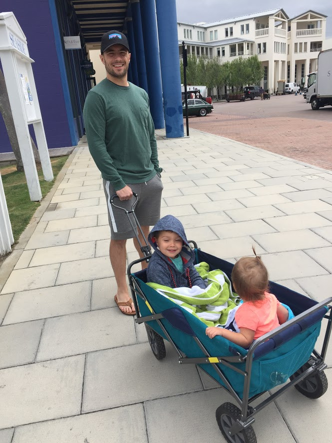 collapsable wagon, stroller hack, born happy, walk around town, toddler, parent coach