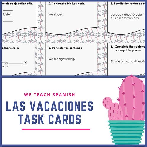 Las Vacaciones Task Cards