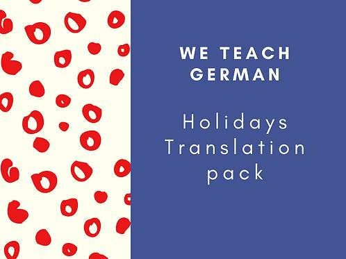 Holidays Translation Pack - Eng to Ger