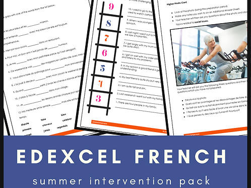 French Edexcel Intervention Pack