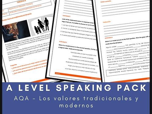 Los valores tradicionales y modernos Speaking Pack