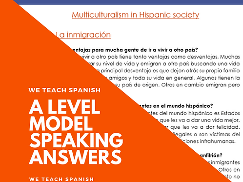 La Inmigración Model Answers